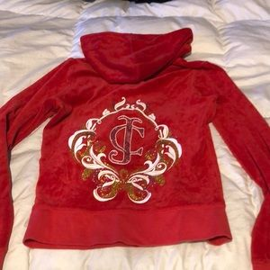 Juicy couture red velvet hoodie